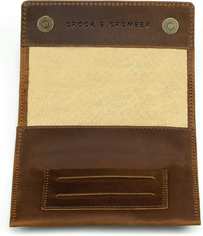 Crook & Cromber Bolsa de Tabaco Cuero Genuino I Cierre magnético Doble Papel y Compartimento de Filtro I 30g Bolsa de Tabaco – diseño Delgado I Bolsa giratoria – marrón Vintage