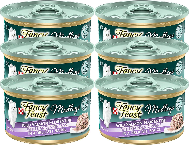 Fancy Feast Elegant Medleys, Wild Salmon Florentine with Garden Greens Wet Cat Food, 3 oz (Pack of 6)