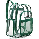 MGgear Transparent PVC Book Bag, Clear Kids School Backpack, Green Trim