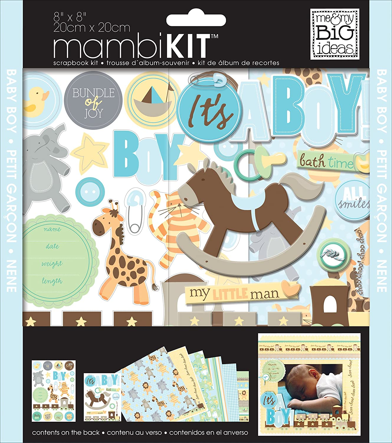 me & my BIG ideas 8-Inch x 8-Inch Scrapbook Page Kit, It's a Boy It's a Boy Me and My Big Ideas PK-276