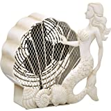 DecoBREEZE Table Fan Two-Speed Electric Circulating Fan, White Mermaid Figurine Fan