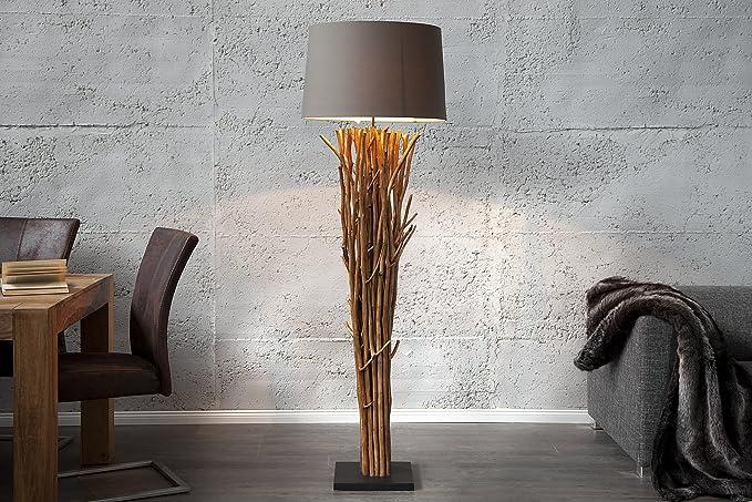 Design Stehlampe Holz Leinen 175cm Modern Kunstvoll Eindrucksvoll