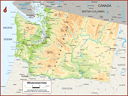 A Map Of Washington State Amazon.: 42 x 32 Washington State Wall Map Poster with