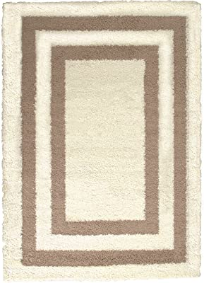 "Allstar 8 X 10 Ivory with Beige High Pile Posh Shaggy Printed Area Rug (7' 9"" X 10')"