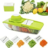 B.WEISS mandoline slicer Cuts Fruits & Vegetables, Straight & Julienne-Vegetable Slicer - Food Slicer - Vegetable Cutter with 5 Interchangeable Blades