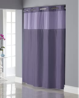 Hookless RBH34MY836 Shiny Texture Herringbone Shower Curtain With Snap In PEVA Liner