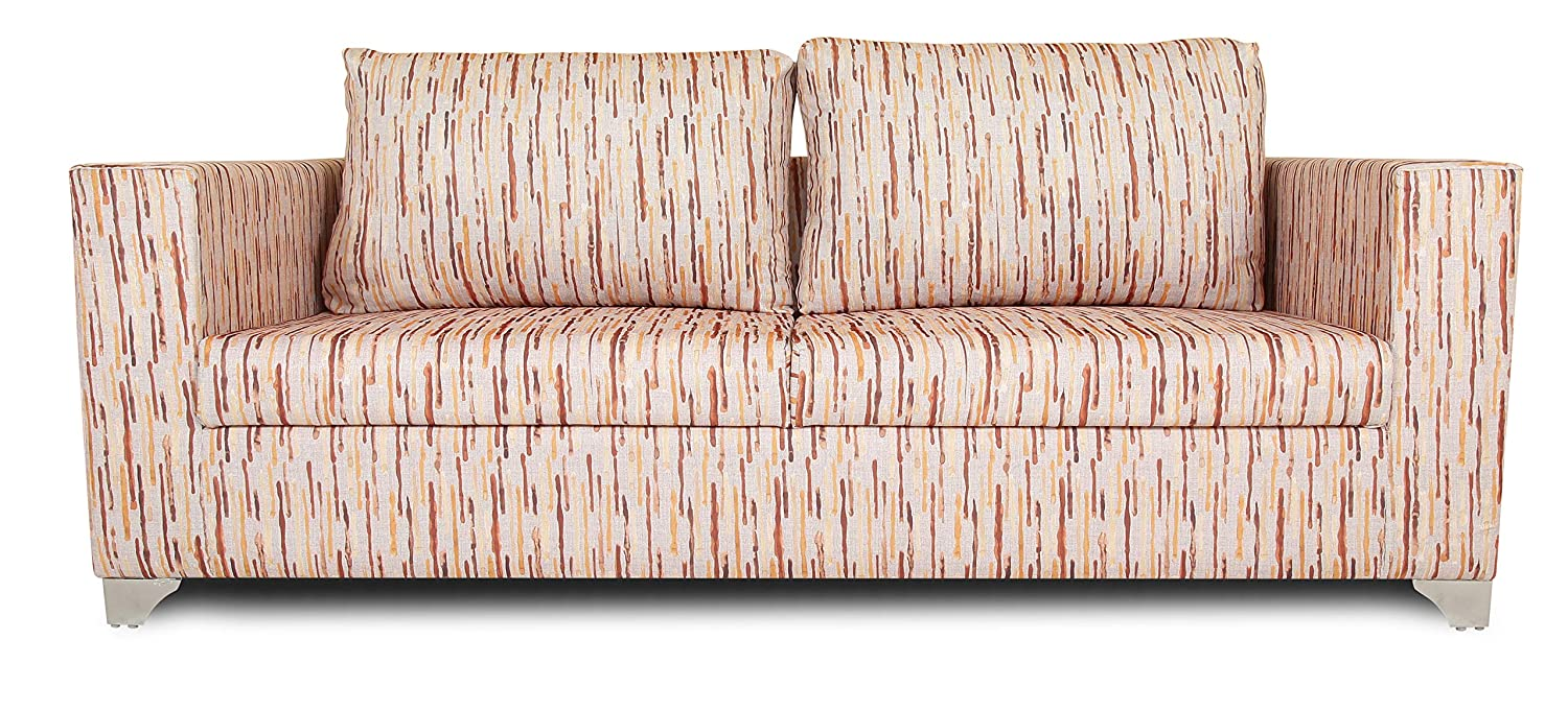 Adorn India Lancia 3 Seater Sofa Digitel Print (Beige)
