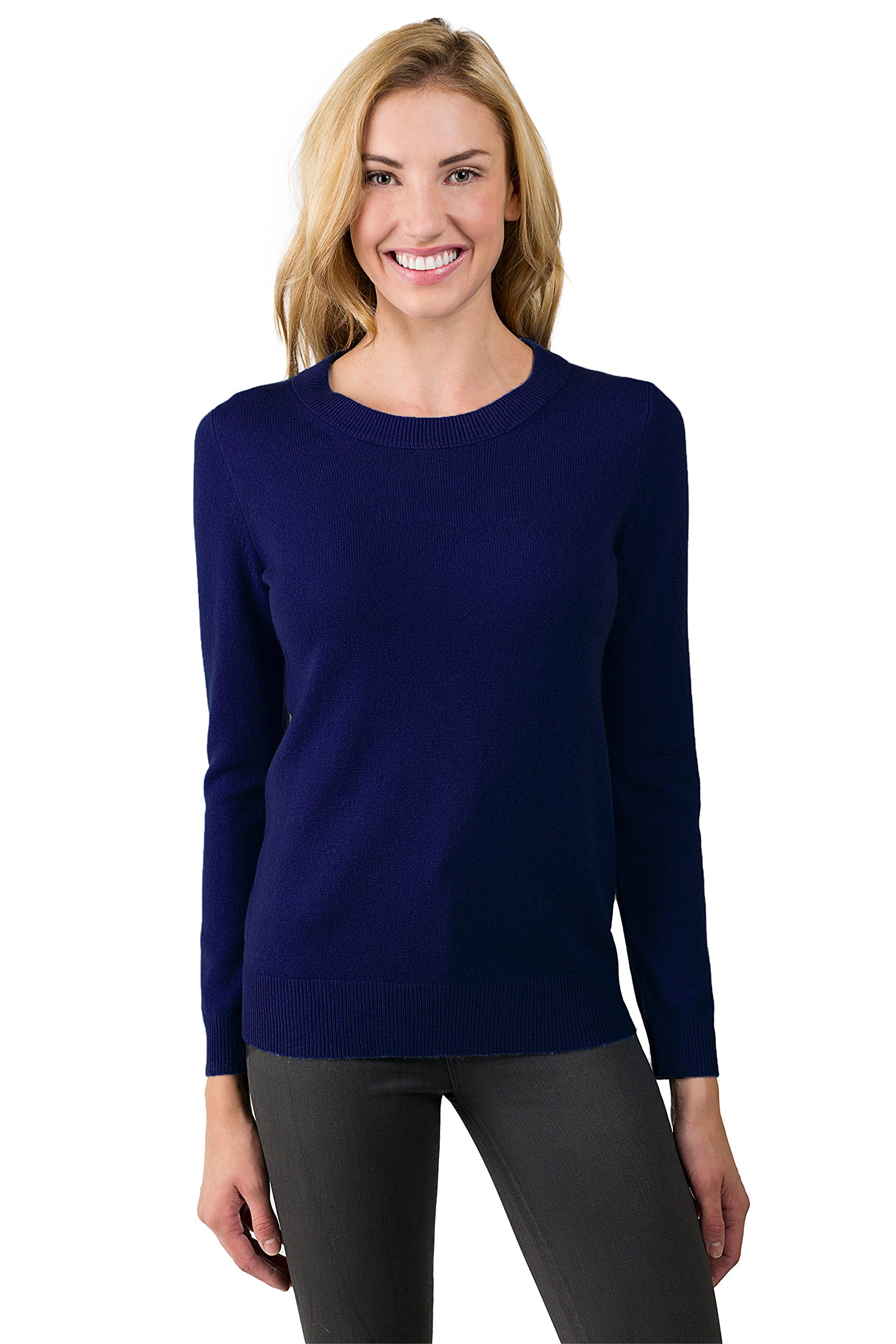 JENNIE LIU Women's 100% Pure Cashmere Long Sleeve Crew Neck Sweater (M, Midnight)
