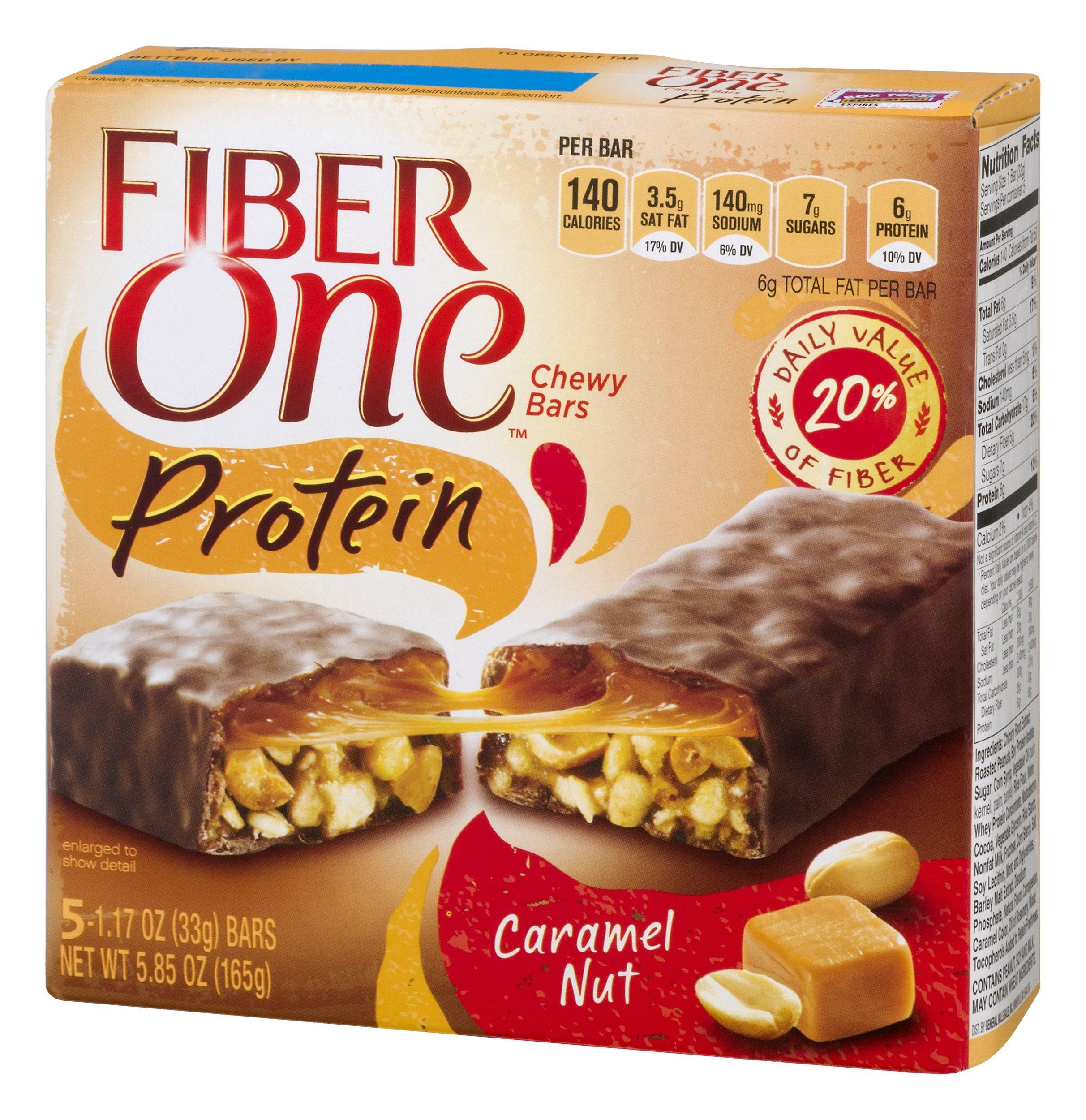 Fiber One Protein Bar, Caramel Nut Chewy Bars, 5 Fiber Bars, 5.85 oz by Fiber One