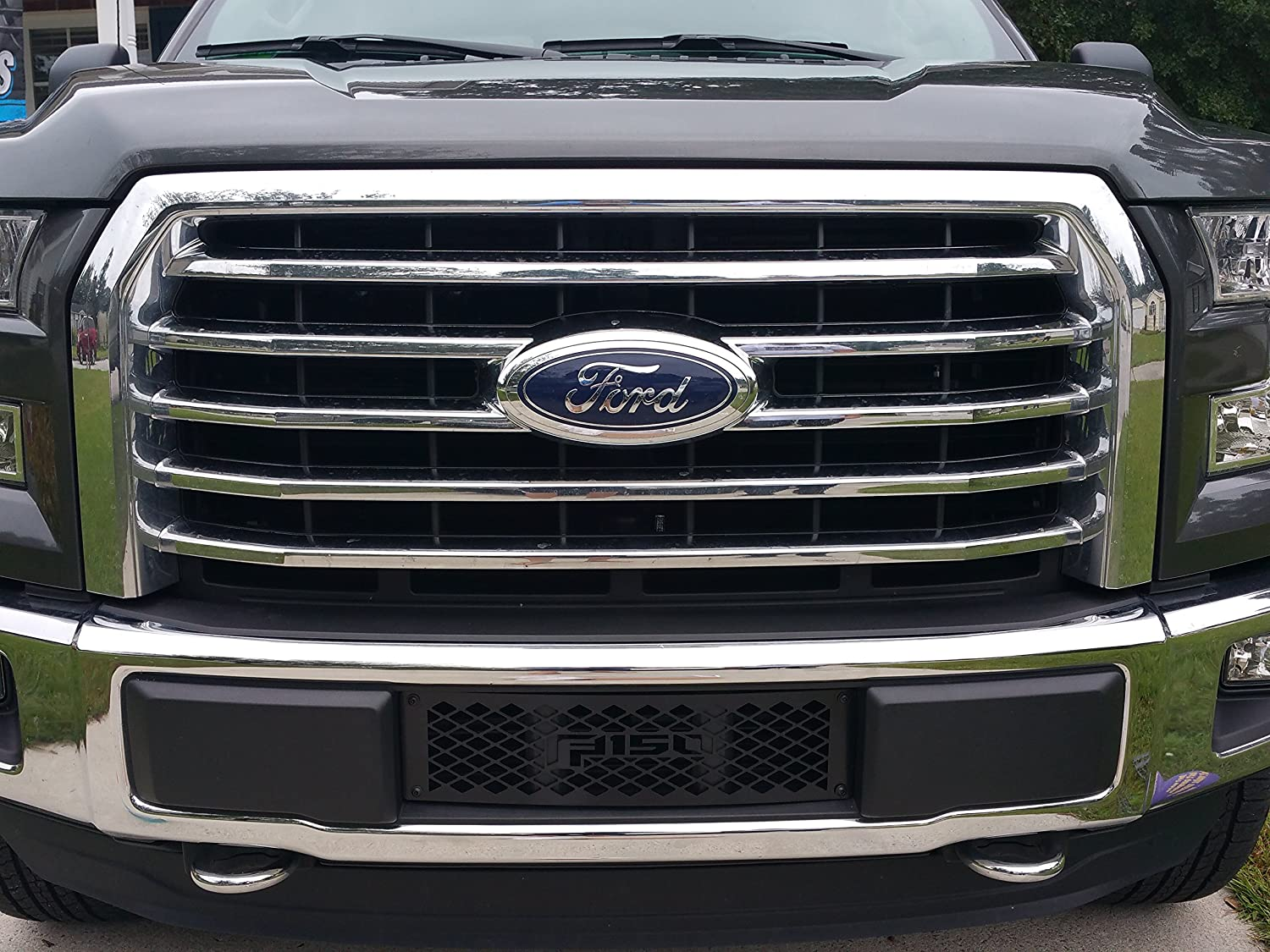 Ford F-150 Small Diamond Design Powder Coated Black Bumper Grille Insert Mountains2Metal 2015