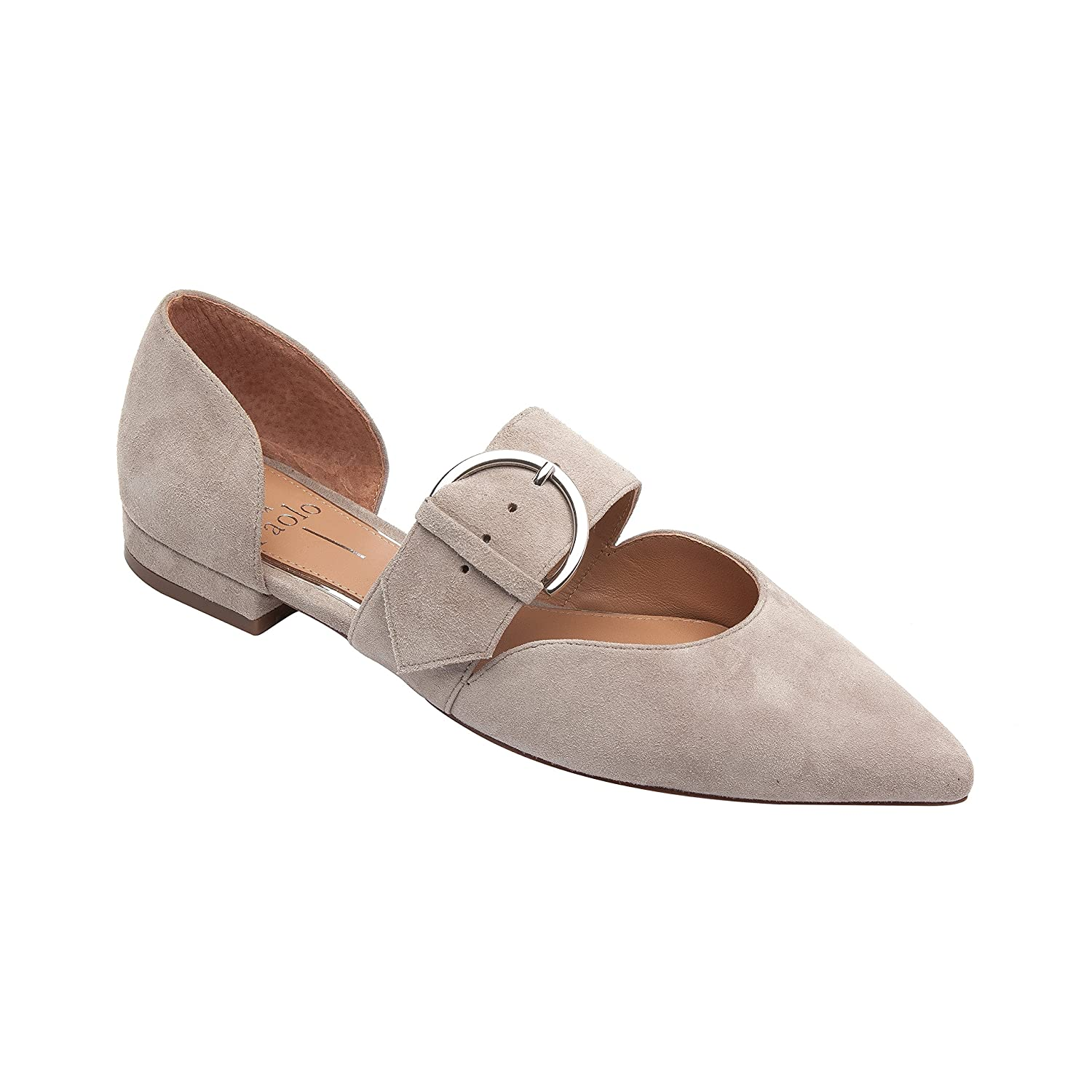Dean | Women's Two Piece Pointy Toe Comfortable Leather or Suede Ballet Flat B0795718P9 5.5 M US|Dove Suede