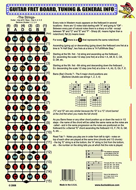picture relating to Guitar Fretboard Notes Printable known as THE GUITAR FRETBOARD Total Facts POSTER