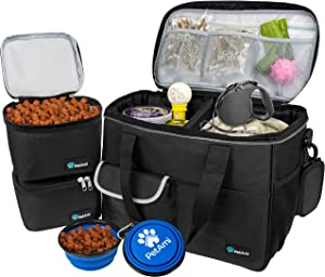 PetAmi Dog Travel Bag   Airline Approved Tote Organizer with Multi-Function Pockets, Food Container Bag and Collapsible Bowl   Perfect Weekend Pet Travel Set for Dog, Cat