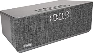 iHome iBT233 Bluetooth Dual Alarm FM Clock Radio with Speakerphone and Dual USB Charging (Dual Charge)