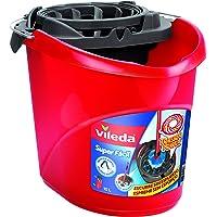 Vileda Cubo Superfácil - Cubo de fregar con escurridor (17 x 31 x 28 cm), fácil de escurrir y limpiar, color rojo y negro