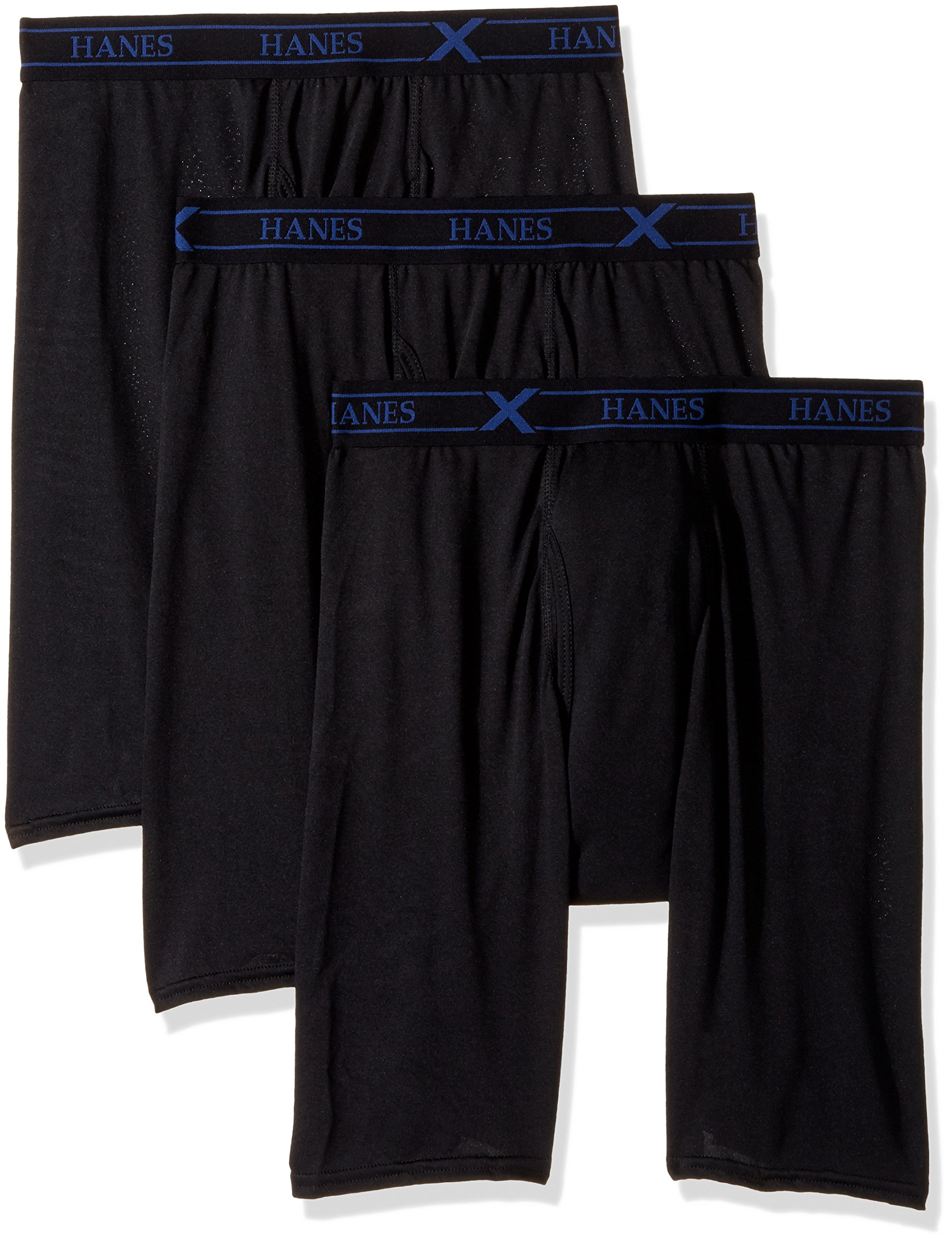 Hanes Ultimate Men's 3-Pack X-Temp Performance Long Leg Boxer Briefs, Color May Vary, Large