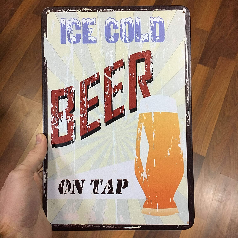 Señal de cerveza sin marca de estilo vintage, placa de metal para decoración de cerveza helada, cerveza fría cerveza en grifo