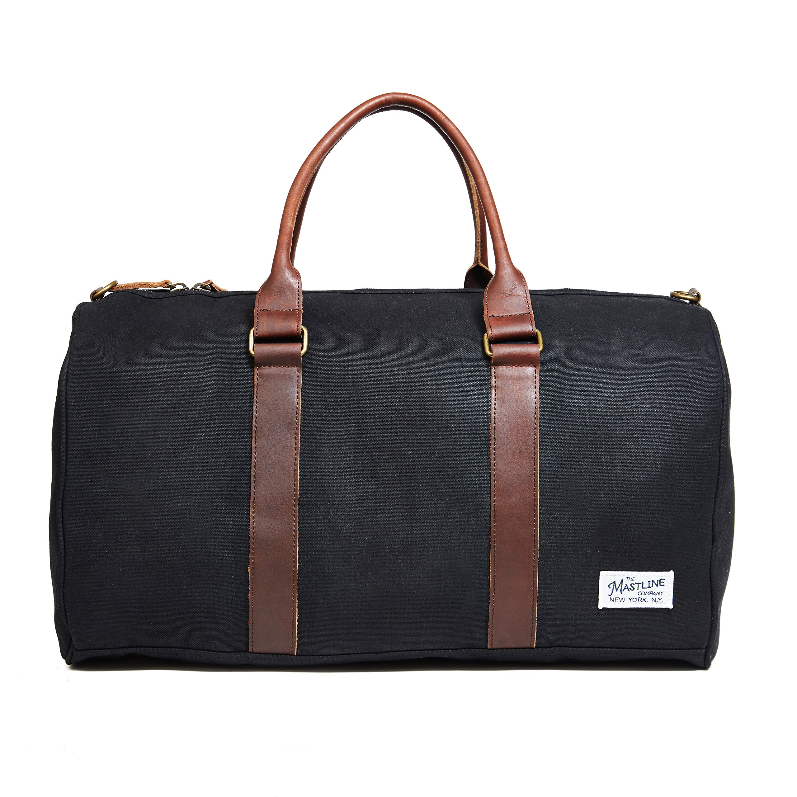THE MASTLINE Co. | Fulton Weekender Travel Bag | Waxed Canvas & Leather (Black)