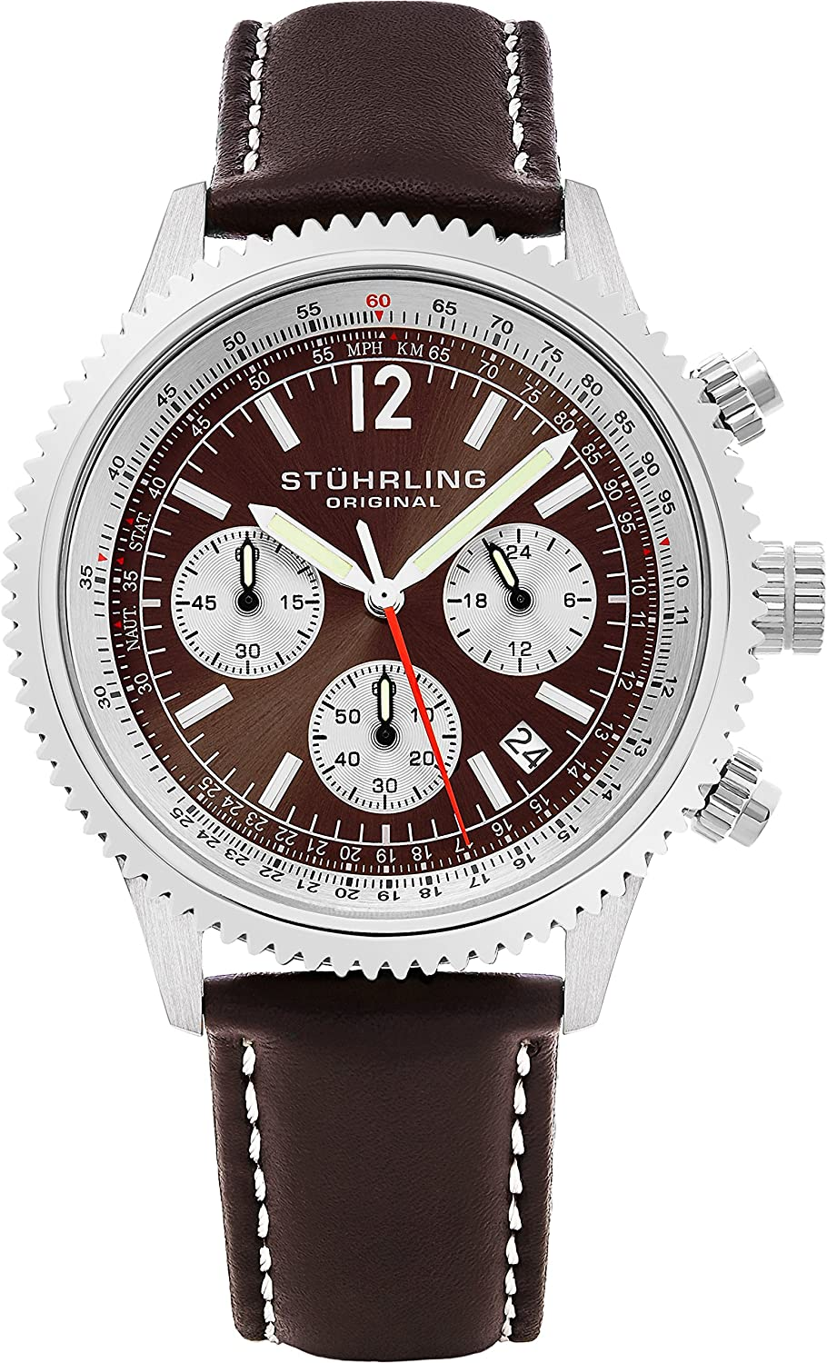 Stuhrling Original Men s 669.03 Monaco Analog Japanese Quartz Brown Genuine Leather Watch