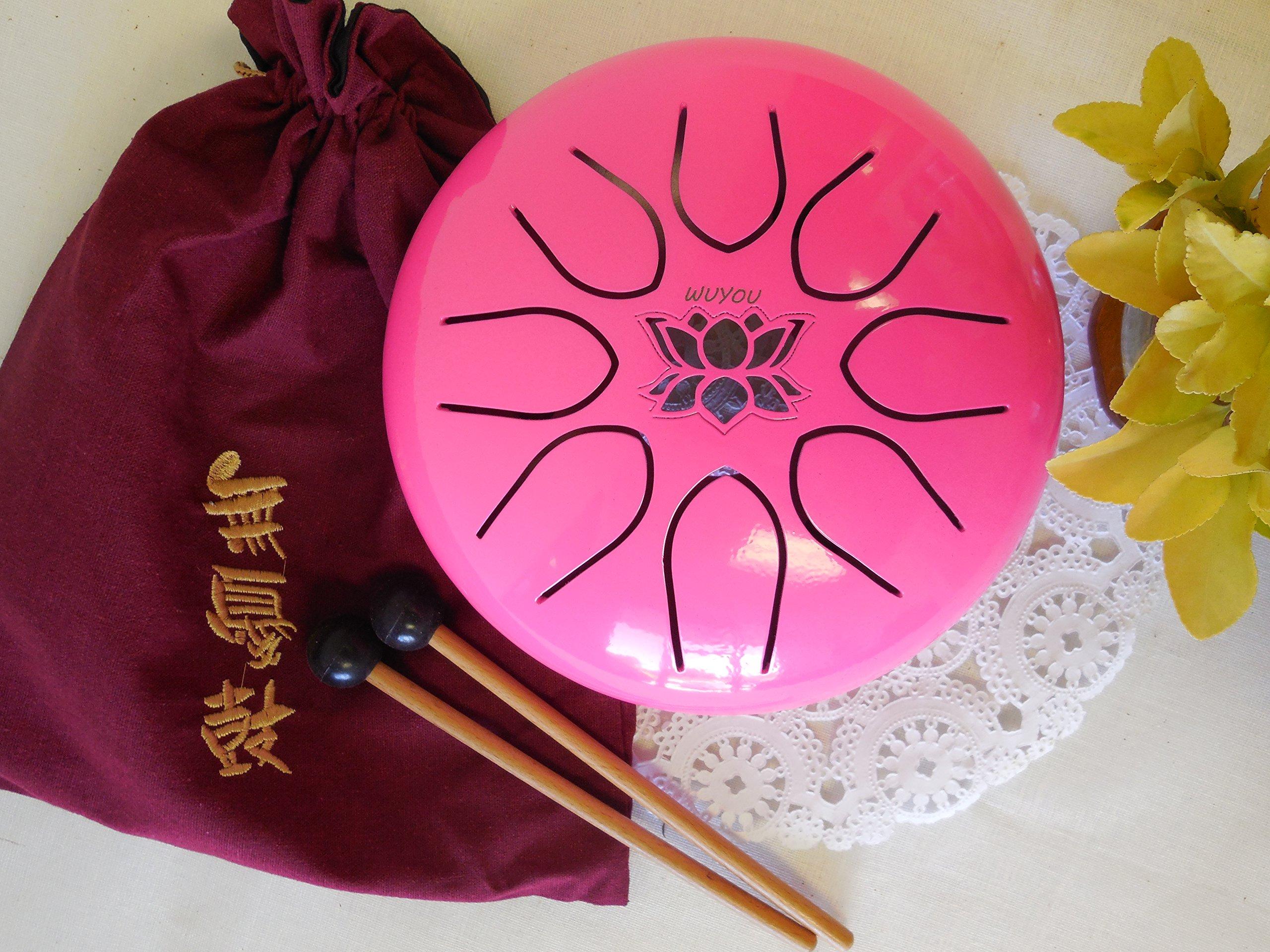 WuYou 8in UFO Pink Steel tongue drum, Lotus symble drum, Handpan, FREE Mallets and Bag