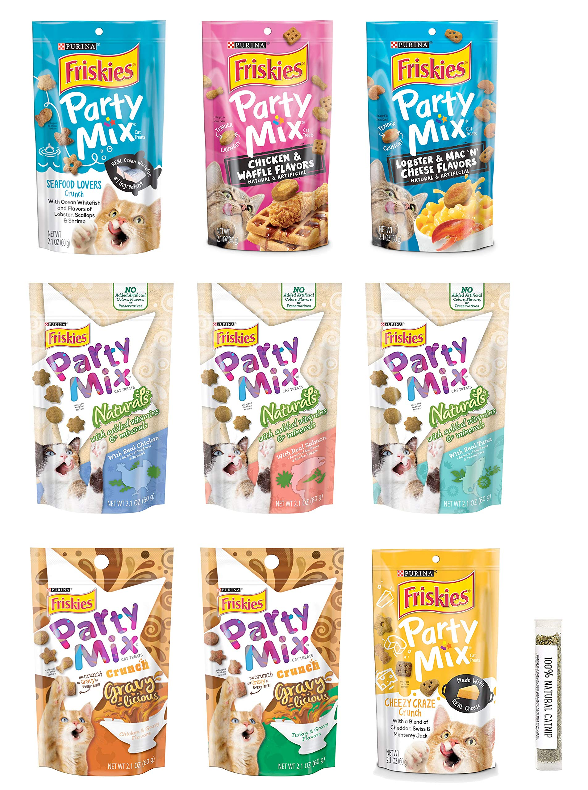 Friskies Party Mix Crunch Cat Treat Variety Bundle, 9 Flavors, 2.1 Ounces Each (9 Total Pouches) and 1 Tube of Amazing Cat Catnip