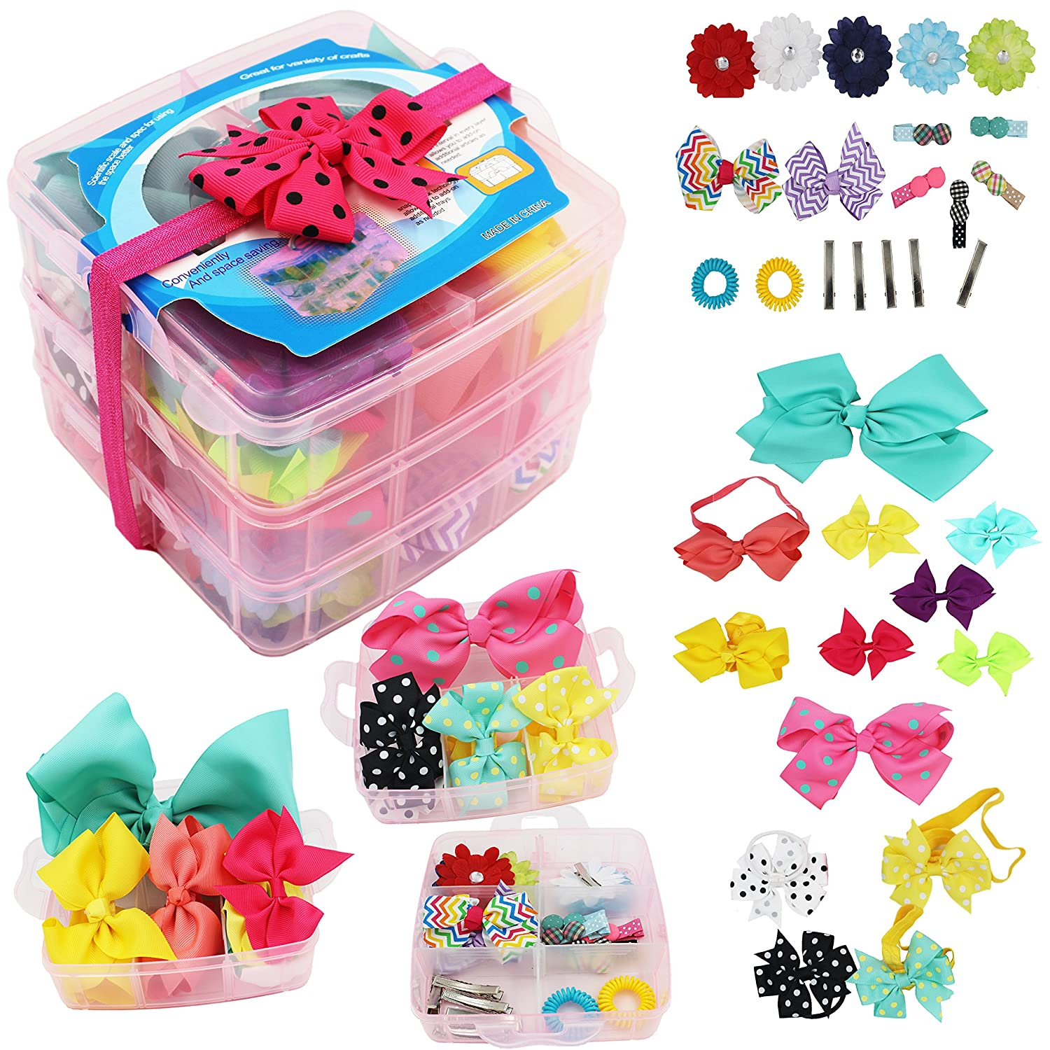 3 Layer Girls Hair Accessories Gift Box with Lot of Hair clips elastic hair tie candy clips Hair Bows alligator clips Cellot
