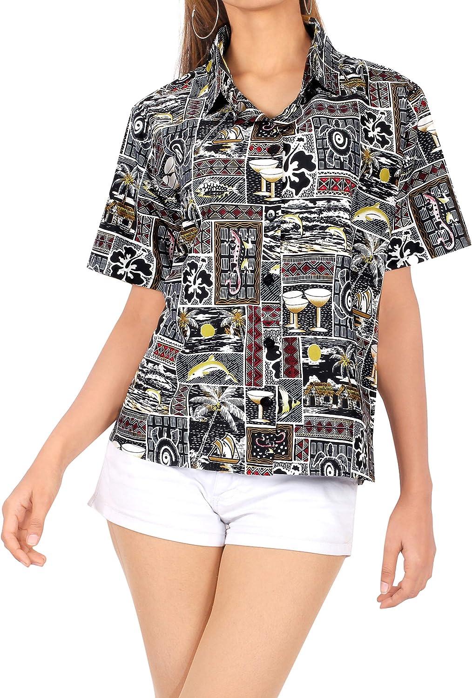 seOras Blusa con Botones Hawaiano Camisa de Cuello de Ropa de Playa hasta la Cubierta Superior de Manga Corta