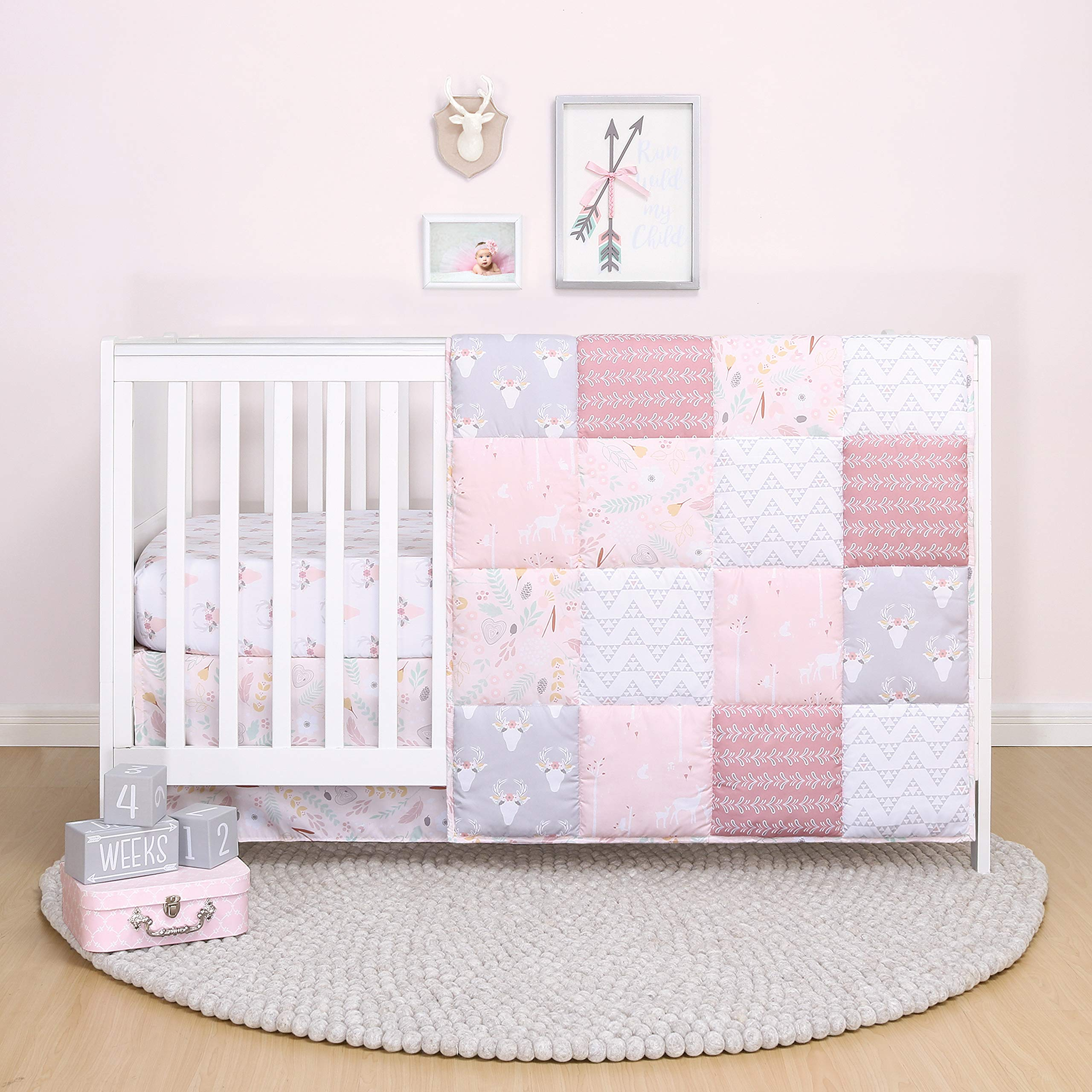 The Peanutshell Pink Floral Crib Bedding Set for Baby Girls - Quilt, Fitted Sheet, Dust Ruffle Included by The Peanutshell