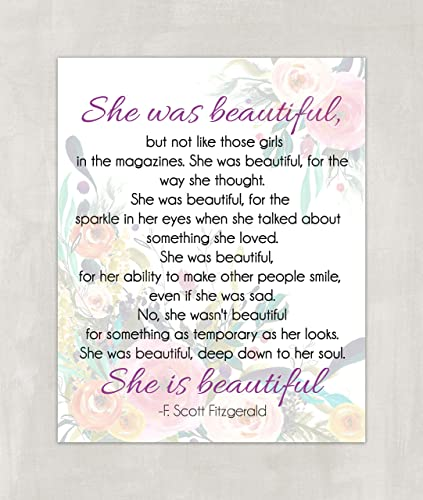 Amazoncom F Scott Fitzgerald Quote She Was Beautiful Quote Wall