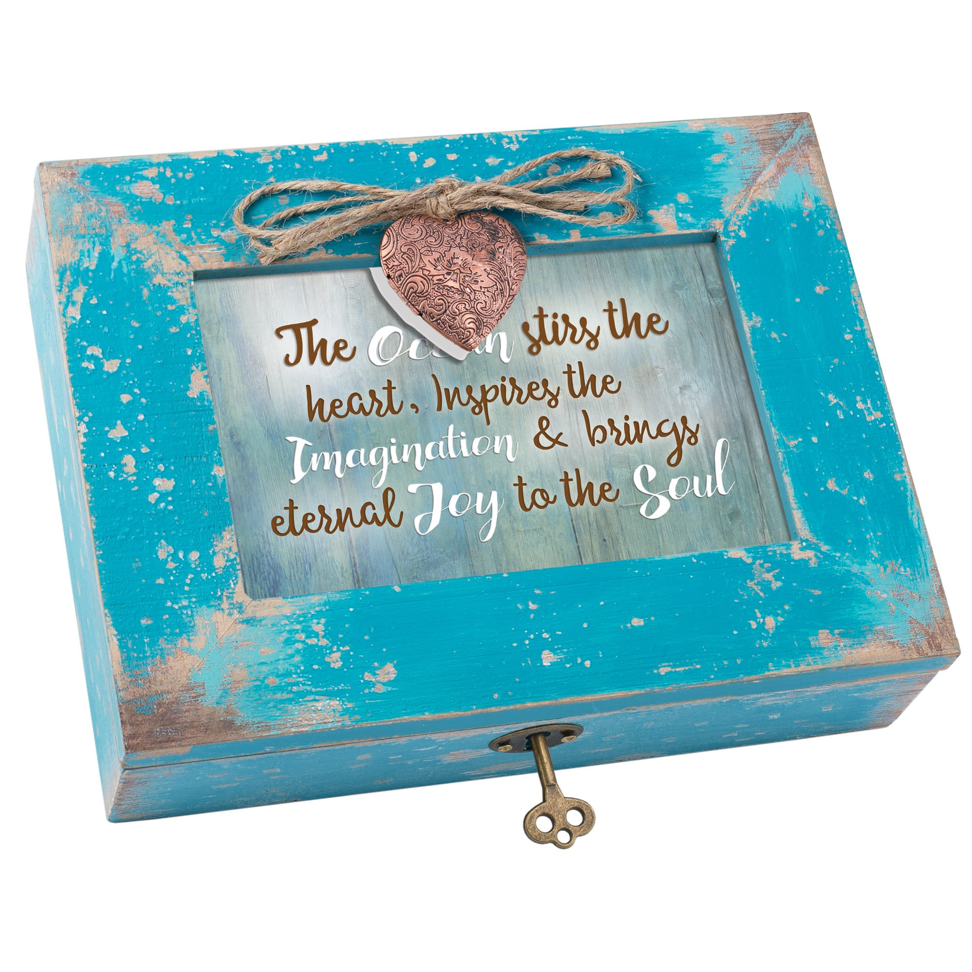 The Ocean Inspires Brings Joy Distressed Teal Blue Wood Locket Music Box Plays You Light Up My Life
