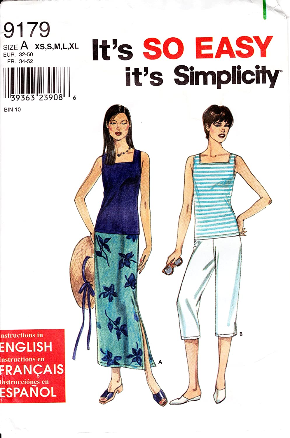 Simplicity Pattern 9179 ~ Misses Skirt Capri Pants and Knit Tank Top ~ Sizes XS-XL