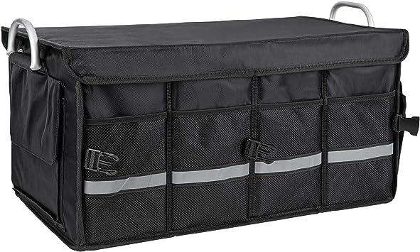 Onvaya Kofferraumtasche Schwarz Auto Organizer Mit Ca 55 Litern Fassungsvermögen Autotasche Kofferraumbox Mit Taschen Auto