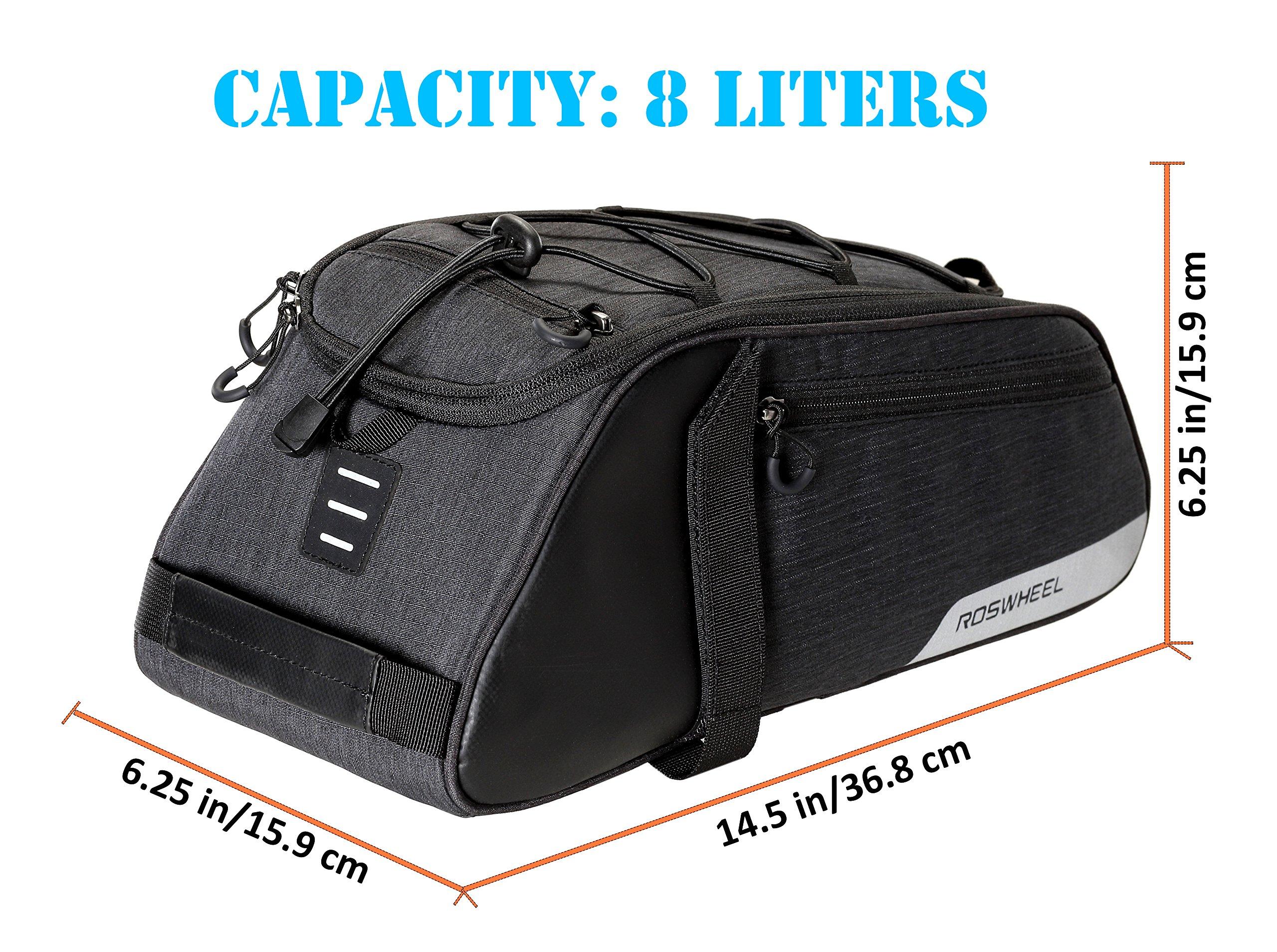 Roswheel Essentials Series 141466 Bike Trunk Bag Bicycle Rear Rack Pack Cycling Accessories Pannier, 8L Capacity by Roswheel (Image #6)
