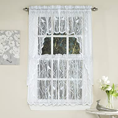 Sweet Home Collection 5 Pc Kitchen Curtain Set, Swag, Valance, Choice of 24 Songbird White, 36  Tier Pair