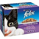 Felix Eminces en Gelee Viandes-Poissons - 12 x 100 g - Sachets repas Chat Adulte lot de 6