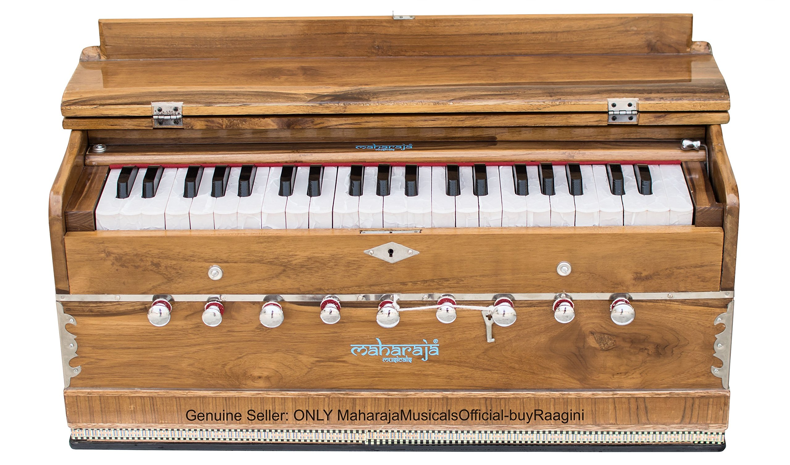 Harmonium Teak Wood by Maharaja Musicals, In USA, 3 1/2 Octave, 9 Stops, Special Double Reed, Coupler, Natural Color, Standard, Book, Padded Bag, A440 Tuned, Musical Instrument Indian (PDI-GF)