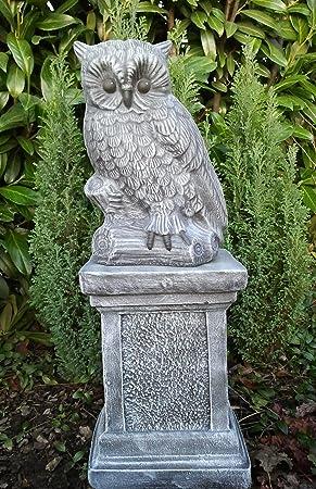 Steinfigur Eule Mit Säule Schiefergrau Deko Figur Garten