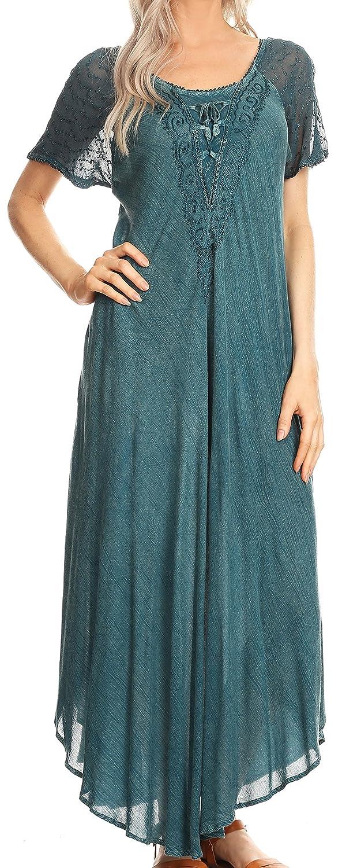 Sakkas Helena Embroidered Nightgown//Women Sleepwear with Eyelet Sleeves