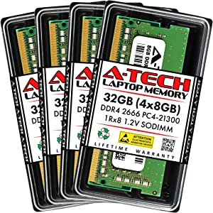 A-Tech 32GB (4x8GB) DDR4 2666MHz SODIMM PC4-21300 1Rx8 Single Rank 260-Pin CL19 1.2V Non-ECC Unbuffered Notebook Laptop RAM Memory Upgrade Kit