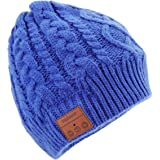 Tenergy Wireless Bluetooth Beanie Hat with Detachable Stereo Speakers & Microphone, Fleece-lined Unisex Music Beanie for Outdoor Sports, Braid Cable Knit (Blue)