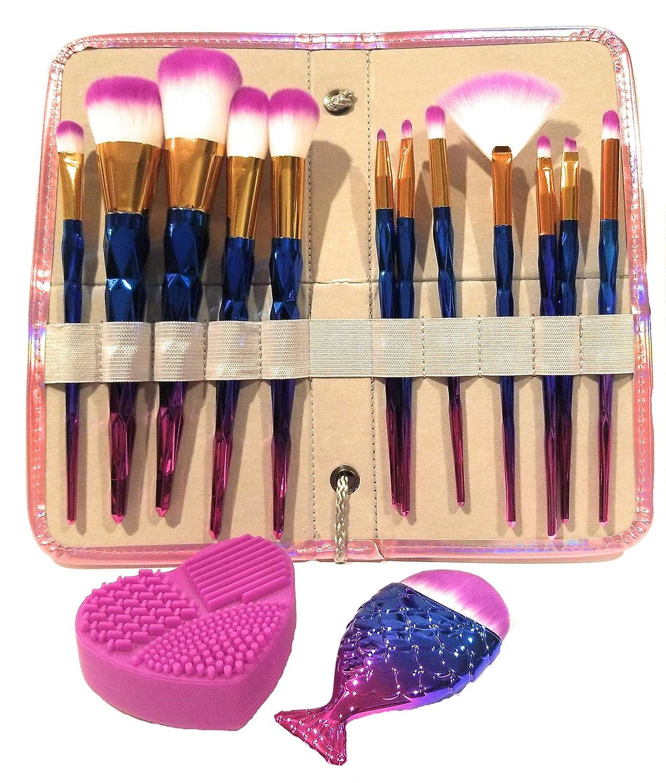 12pc Unicorn Makeup Brush Set w/Rainbow Diamond Handles, Iridescent Case and Matching Mermaid Foundation Brush and FREE Silicone Heart Brush Cleaner/Holder