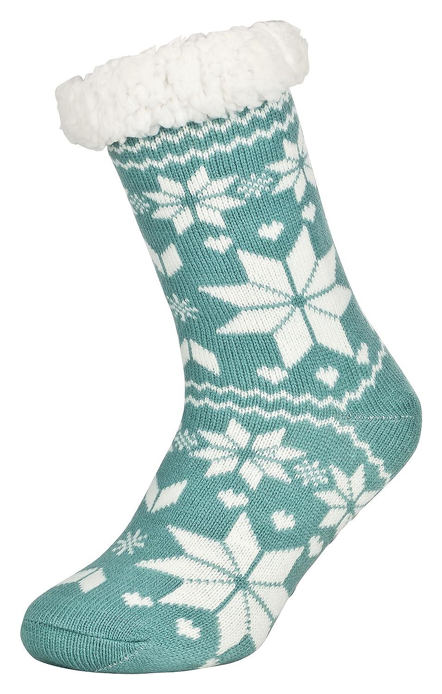 Tobeni 1 Paio di scarpe da casa per Donna Calzini ABS con Calzini e Calze con suola antiscivolo 234.002-Love-Silber