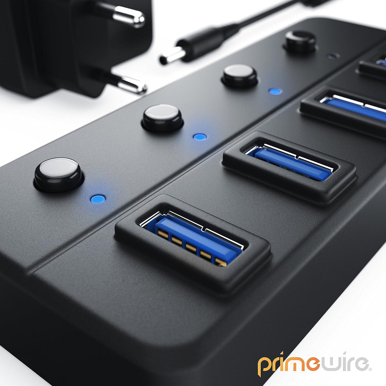 aktiver USB Hub 3.0 mit Netzteil 4 Port schaltbar Datenhub kompatibel mit PC Notebook Apple MacBook MacBook Air Pro Mini iMac MacPro Tablet PS4 UVM CSL | bis zu 5 Gbit//s aktiv inkl Netzteil