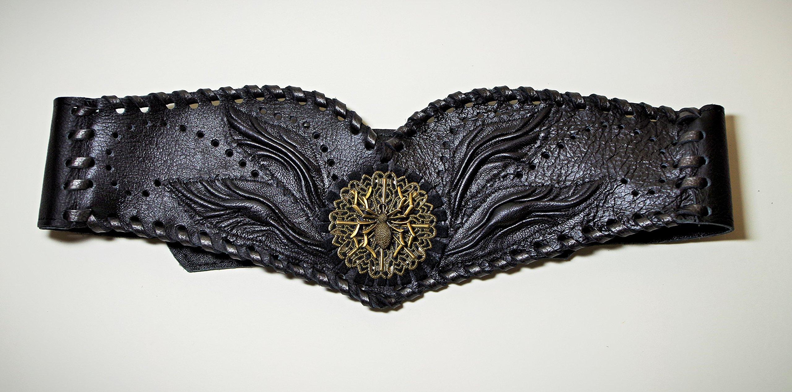 Black genuine leather bodice, corset, Dip-Waist belt. Renaissance black leather corset. Victorian belt. Steampunk belt corset. Leather Gothic bodice