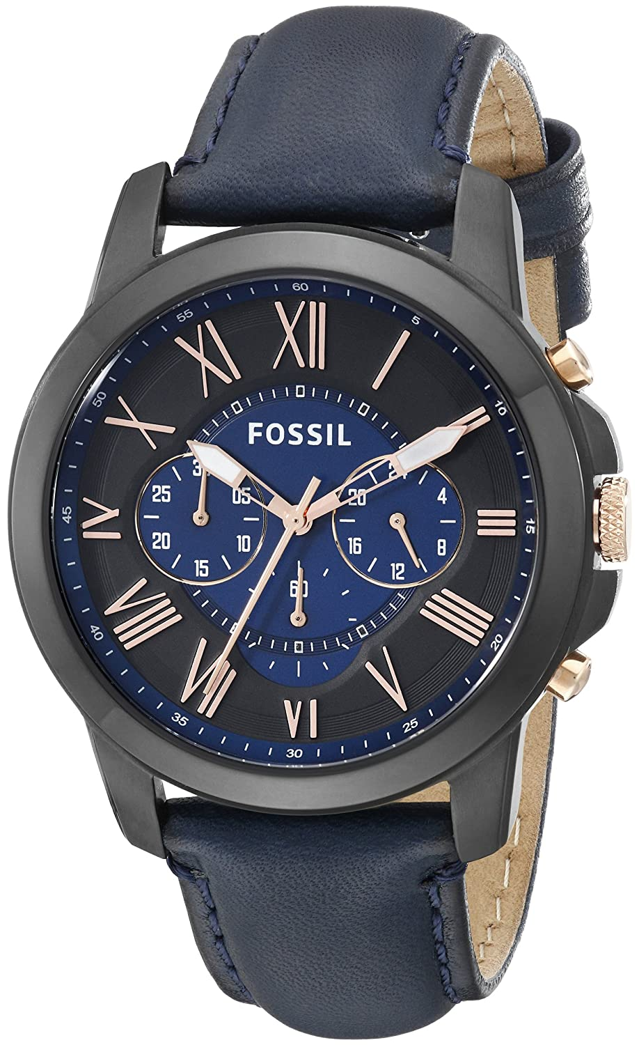 amazon com fossil men s fs5061 grant black stainless steel watch amazon com fossil men s fs5061 grant black stainless steel watch blue leather band fossil watches