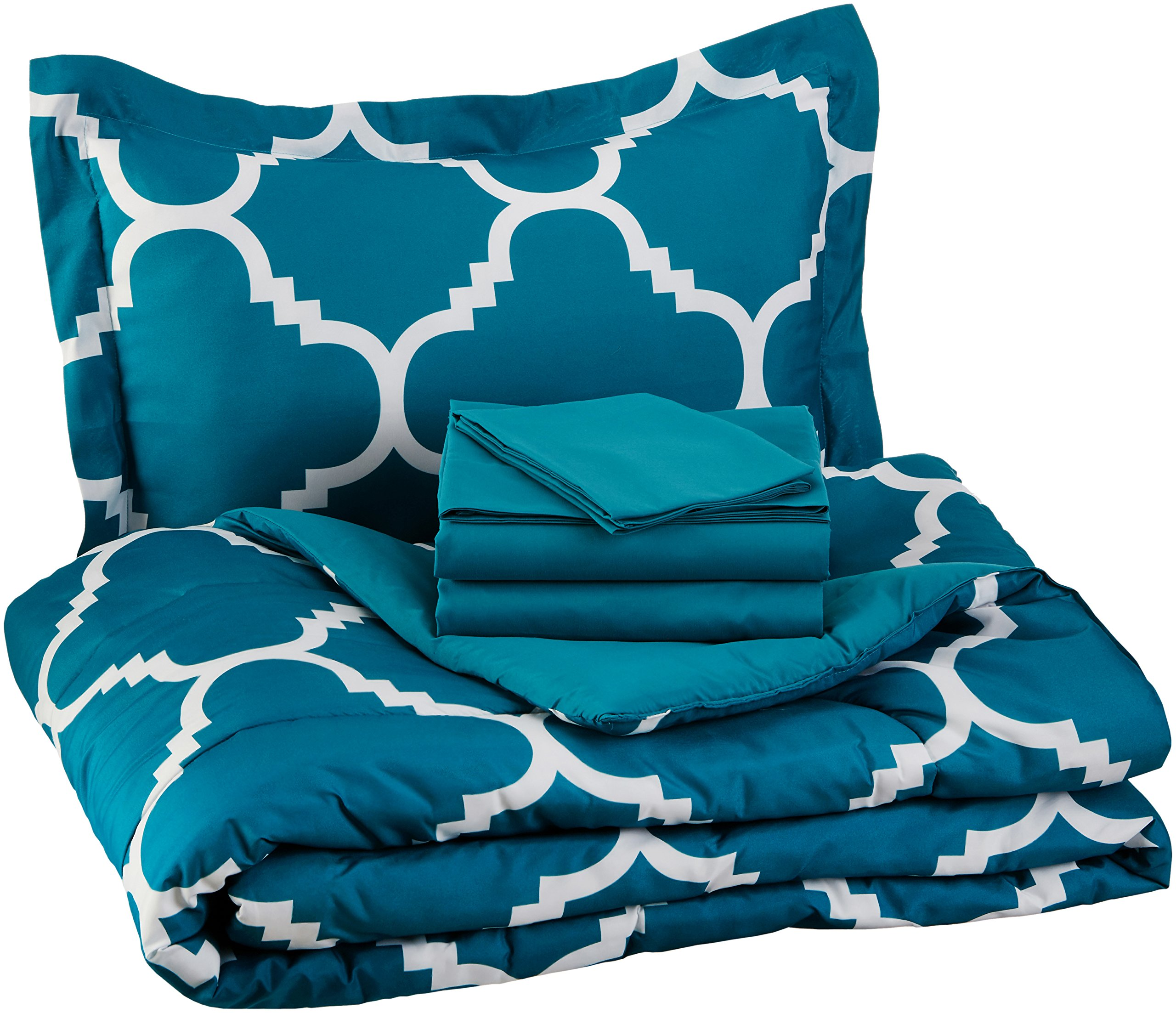 AmazonBasics 5-Piece Bed-In-A-Bag - Twin/Twin Extra-Long, Teal Trellis by AmazonBasics