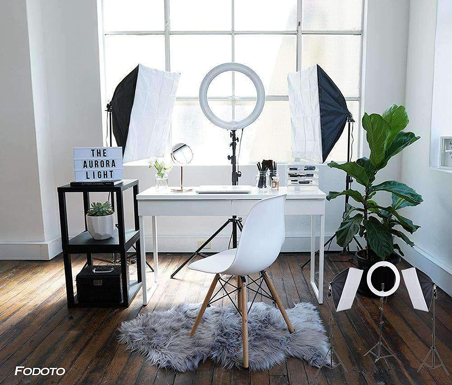 FODOTO 18inch LED Diva Ring Light w/ 900w Photo Video Continuous Softbox Lighting Kit ( The Most Popular Setup Online )