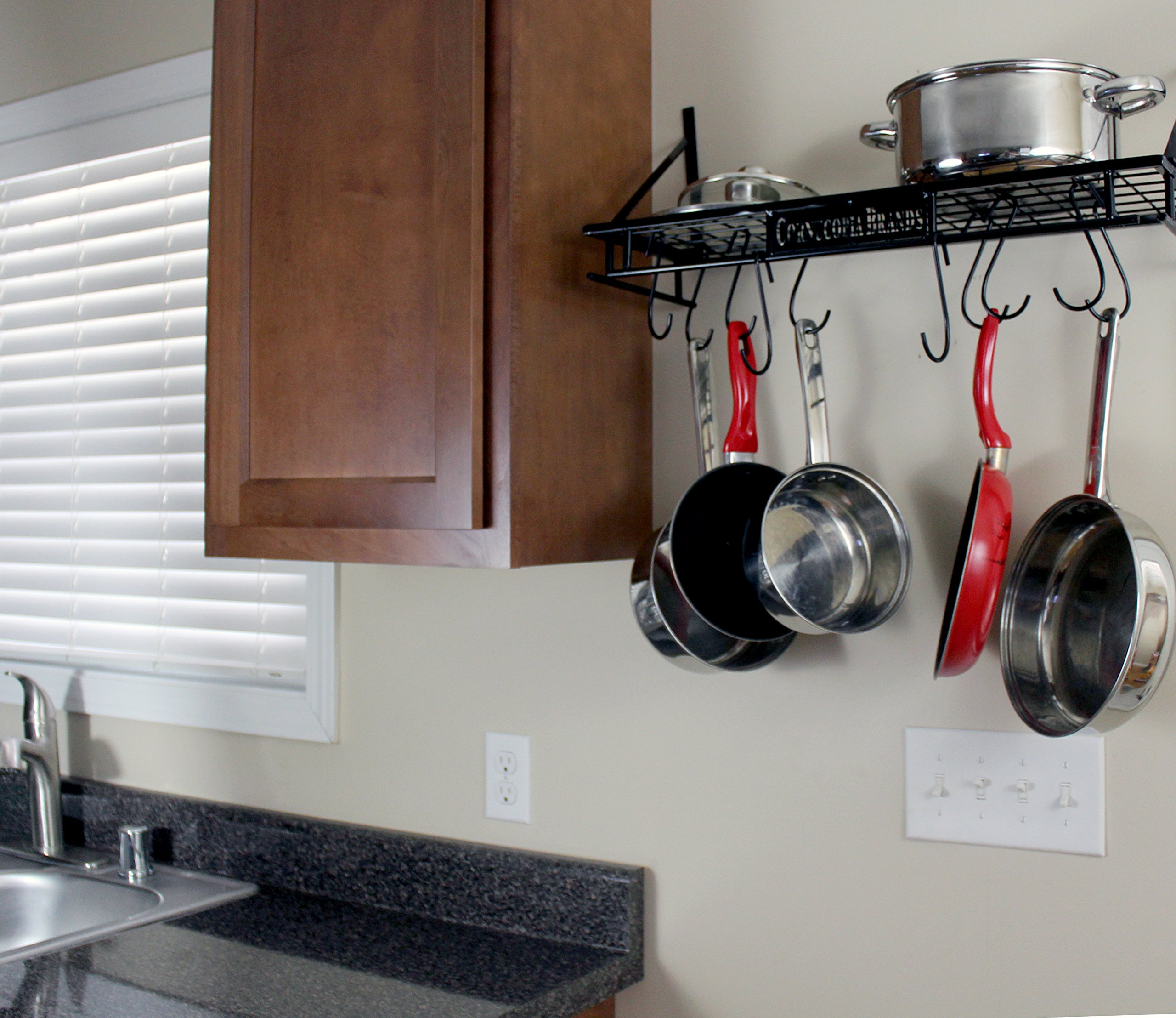 Wall-Mounted Pot Hanging Rack, 24 by 10 Inches, All-Black Decorative Kitchen Shelf w/ 10 S-Hooks by Cornucopia Brands (Image #5)