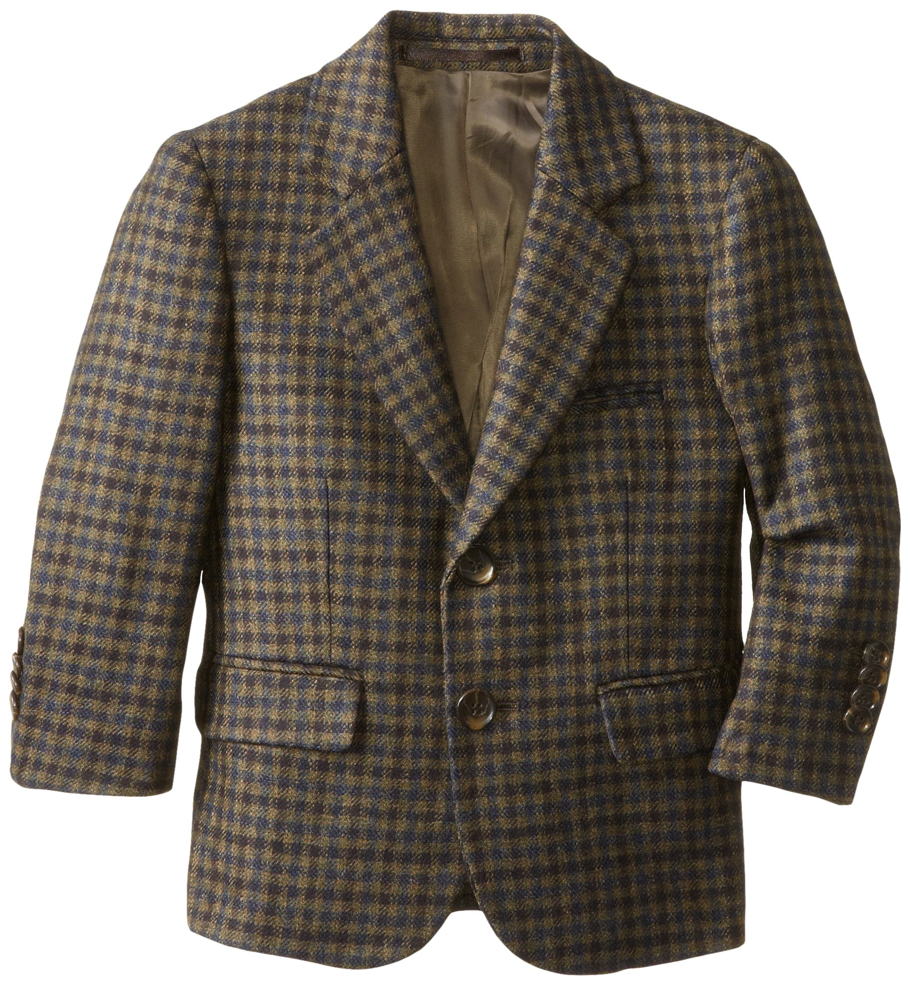 Isaac Mizrahi Black Label Little Boys' Little Pure Wool Multi-Check Blazer, Olive, 3 by Isaac Mizrahi