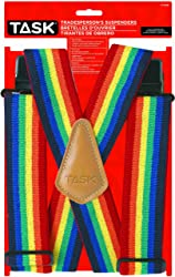 Rainbow suspenders for a Mork costume